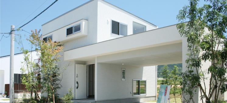 山裾の白い家